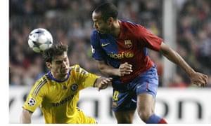Chelsea's Branislav Ivanovic, left, and Thierry Henry of Barcelona