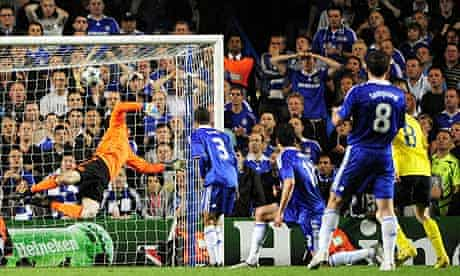Petr Cech fails to stop Andres Iniesta's shot for Barcelona against Chelsea