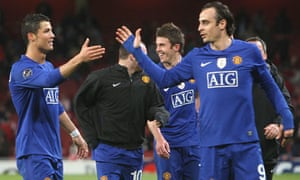 Dimitar Berbatov of Manchester United. Why the weird sleeves Dimi?