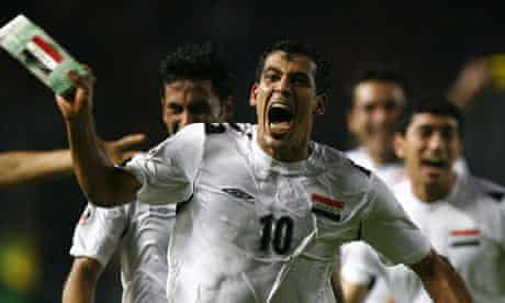 Iraq's Younis Mahmoud celebrates at the 2007 Asian Cup final