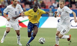 Brazilian midfielder Ramires breaks away against the United States