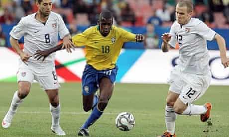 Brazilian midfielder Ramires breaks away against the United States