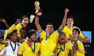 Brazil celebrate winning the Confederations Cup Final