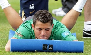 Cristiano Ronaldo during a Portugal training session at Obidos