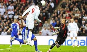 Emile Heskey heads over for England against Slovakia