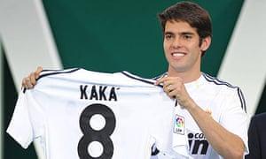 5abc74ae4 New signing Kaka presents his new Real Madrid shirt