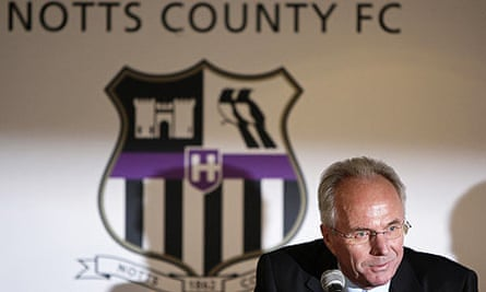Sven-Goran Eriksson speaks at a news conference after joining Notts County
