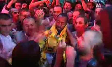 Darius Vassell is greeted by Ankaragucu fans upon his arrival in Turkey