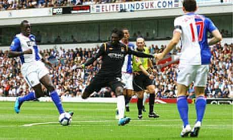 Emmanuel Adebayor scores a debut goal to put Manchester City 1-0 up against Blackburn Rovers.