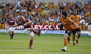 Mark Noble curls home the opening goal in West Ham's win at Wolves.