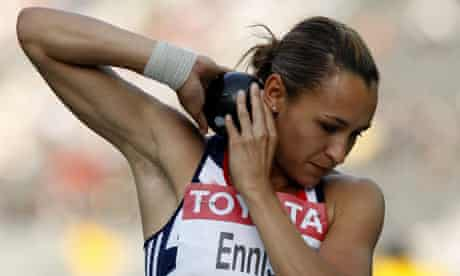 Britain's Jessica Ennis competes in the shot putt at the World Championships in Berlin