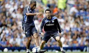 Didier Drogba and Deco during a training session at Stamford Bridge today
