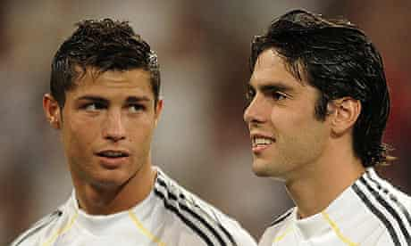 Cristiano Ronaldo and Kaka prepare for a pre-season match with Rosenborg