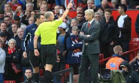 Arsene Wenger is sent off at Old Trafford