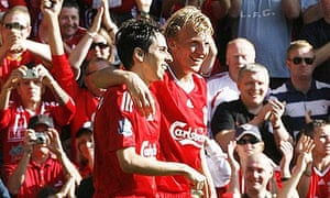 Yossi Benayoun and Dirk Kuyt celebrate after the latter's goal for Liverpool against Burnley