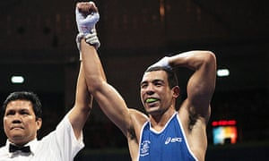 Darren Sutherland is declared the winner of his Olympic quarter-final against Alfonso Blanco Parra