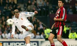 Zinedine Zidane scores the winner in the European Cup final of 2002