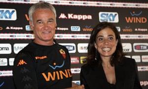 Claudio Ranieri and Roma president Rosella Sensi