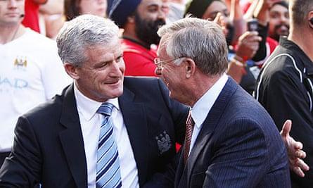 Mark Hughes and Alex Ferguson