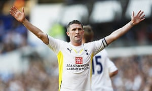 Tottenham's Robbie Keane celebrates scoring the fourth goal and a hat-trick against Burnley