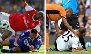 Paul Robinson chops down Abou Diaby, left, while Karl Henry offers his sympathy to Bobby Zamora