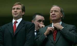 Liverpool's co-owner Tom Hicks (right) and son Tom Hicks Jr (left)