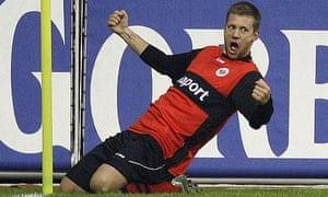 Eintracht Frankfurt's Marco Russ celebrates