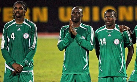 Nwankwo Kanu, left, Joseph Enakarhire and Obinna Nsofor watch Nigeria's 2006 shoot-out v Tunisia