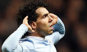 Manchester City's Carlos Tevez celebrates