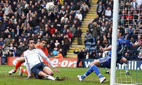Preston North End's Darren Carter misses a chance to equalise against Chelsea in the FA Cup