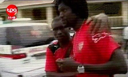 A picture grabbed on the Televisao Publico de Angola channel shows Emmanuel Adebayor in Cabinda