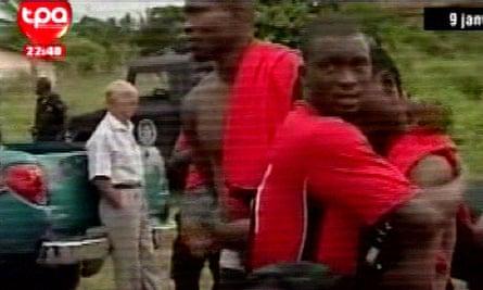 A picture grabbed on the Televisao Publico de Angola channel shows the Togo team