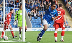 Jack Lester scores the first goal of his hat-trick against Crewe