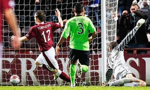 Hearts' David Templeton scores their second goal in the 2-0 win against Celtic