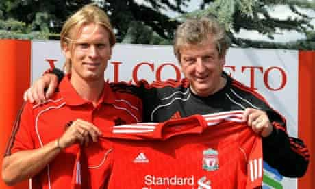 Christian Poulsen of Liverpool with Roy Hodgson in August, after his move from Juventus
