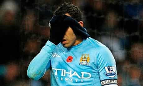 Manchester City's Carlos Tevez after a miss against Birmingham City