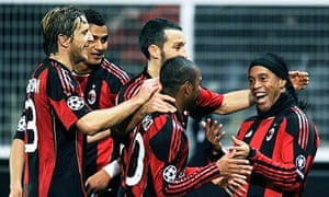Ronaldinho after scoring in Milan's 2-0 Champions League victory at Auxerre