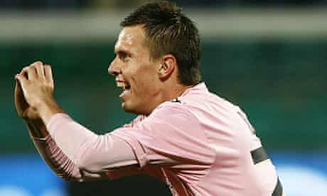 Palermo's midfielder Josip Ilicic celebrates in his cheesy, yet sweetly sincere way
