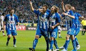 Lech Poznan players celebrate