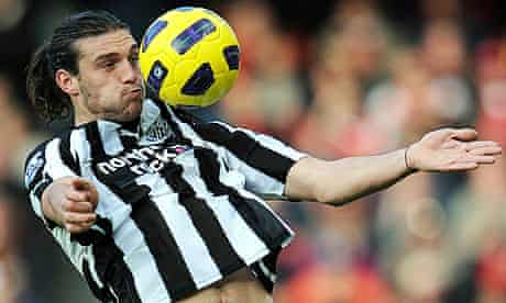 Andy Carroll brings the ball down on his chest during Newcastle's victory against Arsenal