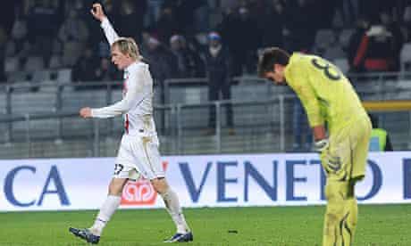Juventus's Milos Krasic celebrates after his team's winning goal against Lazio