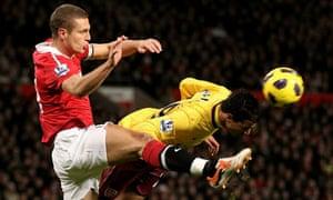 Nemanja Vidic, Manchester United captain, left