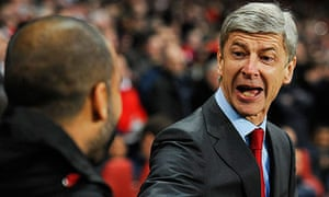 Arsene Wenger greets Pep Guardiola
