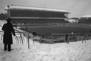 Football white-outs: The Clock End at Highbury is closed due to snow
