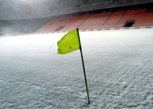 Football white-outs: The San Siro is empty as the game between Milan and Lazio is called off