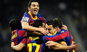 Barcelona celebrate during the 5-1 thrashing of bitter local rivals Espanyol