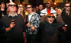 Football fans in London watch the world s first live 3D TV football match