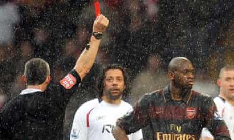 Abou Diaby is sent off at Bolton in 2008