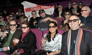 Guests at the Cineworld cinema on Shaftesbury Avenue watch the England v Wales game in 3D