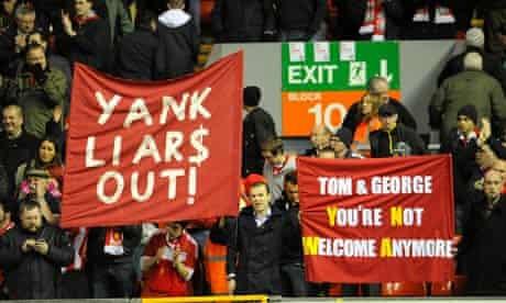 Liverpool v Portsmouth - fans protest